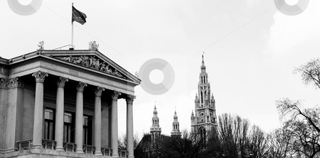 Viennese Landmarks stock photo, Parliament buildings in Vienna, Austria. Cloudy day at the end of winter. Black and white by Sean Nel