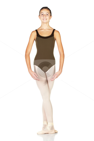 Young Ballet Dancer stock photo, Young female ballet dancer showing various classic positions on a white background - Arms bras bas with feet in 5th position. NOT ISOLATED by Sean Nel