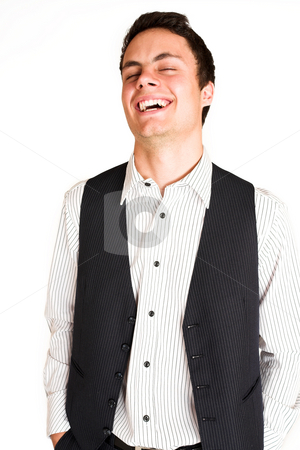 Businessman #109 stock photo, Businessman standing with hands in his pocket.  Laughin.  eyes closed by Sean Nel