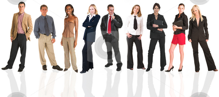 Businessmen and businesswoman as an isolated group stock photo, A group of business people all isolated on white for use on backgrounds for business groups. The whole group consists of multiracial young adults. The foreground is in sharp focus with the people in the background slightly blurred. by Sean Nel