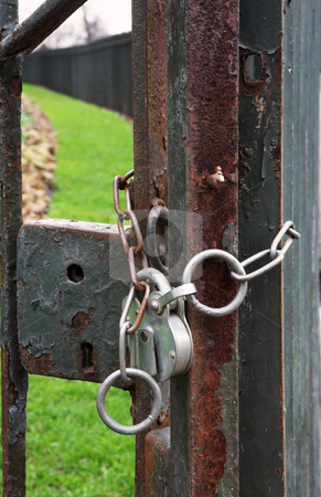 London #38 stock photo, Rusted lock on a gate. by Sean Nel