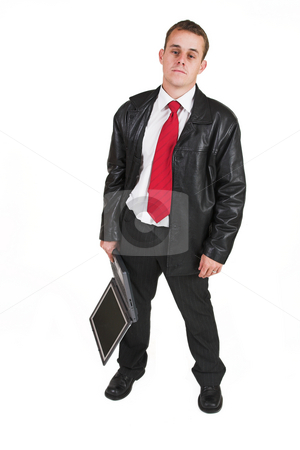 Business man #12 stock photo, Business man in a suit with a notebook computer by Sean Nel