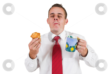 Tollie Booysen #31 stock photo, Businessman inwhite shirt and red tie.Eating a muffin and holding a cup - eyes closed by Sean Nel