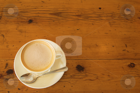 Lunch #34 stock photo, A cup of coffee on a wooden table by Sean Nel