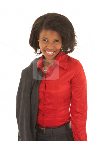 Beautiful African businesswoman stock photo, Portrait of a beautiful young African businesswoman on white background. NOT ISOLATED by Sean Nel