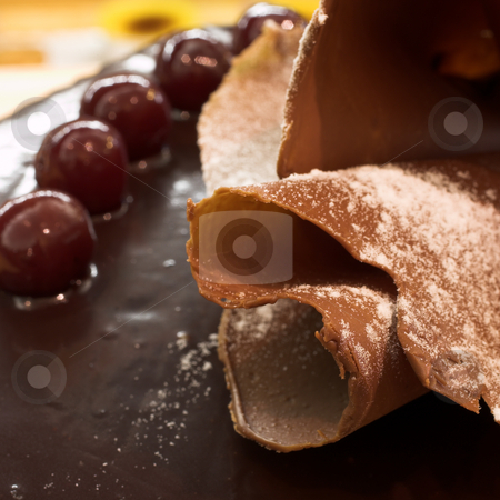 Pastry #38 stock photo, Glazed Chocolate cake and Cherries in a French Patisserie and Chocolaterie - Shallow Depth of Field, copy space by Sean Nel
