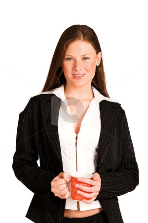 Business Woman #213(GS) stock photo, Business woman dressed in a pinstripe suit, holding a cup. by Sean Nel