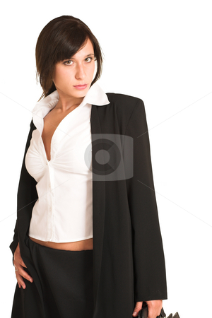 Business Woman #272 stock photo, Business woman dressed in a pencil skirt and jacket.  Holding a black leather suitdcase. by Sean Nel