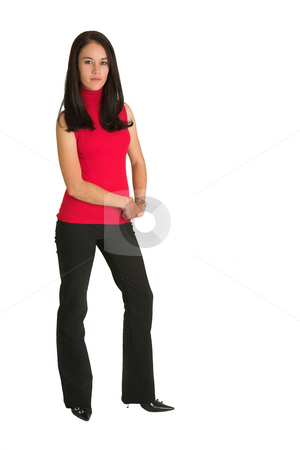 Sexy businesswoman stock photo, Sexy young adult Caucasian businesswoman in black striped pants and a red top on a white background by Sean Nel