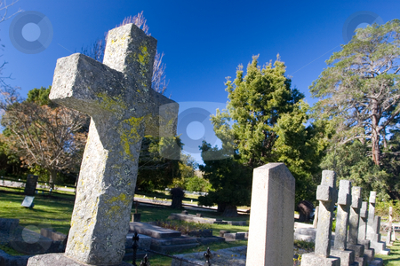 Graves #11 stock photo, Old stone Grave in the shape of a cross at the Belvedere Church, Knysna, South Africa by Sean Nel