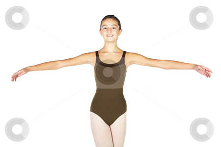 Young Ballet Dancer stock photo, Young female ballet dancer showing various classic hand and arm positions on a white background - 2nd position arm positions. NOT ISOLATED by Sean Nel