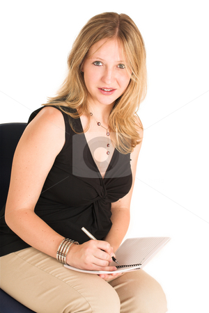 Business Woman #505 stock photo, Pregnant Business Woman, wearing black top and beige pants, writing in note book. by Sean Nel