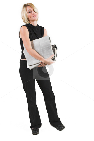 Businesswoman #49 stock photo, Business woman in black outfit with files by Sean Nel