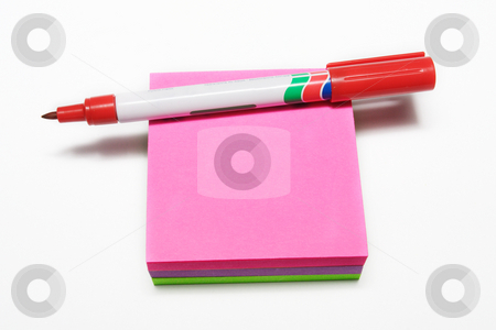 Notepad #5 stock photo, Red fiber tipped pen and sticky pad by Sean Nel