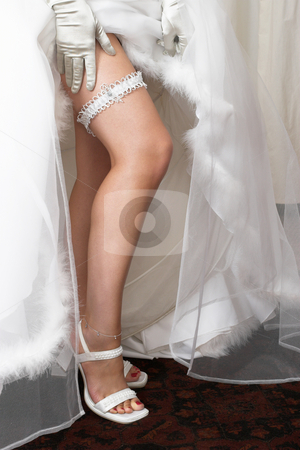 Lingerie #5 stock photo, Long legged woman with ankle jewellery and garter by Sean Nel