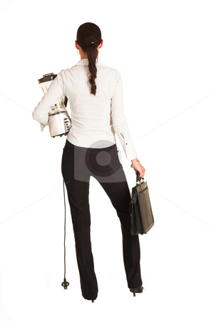 Business Woman #28 stock photo, Business woman dressed in a white pinstripe shirt. Holding blender and leather suitcase by Sean Nel