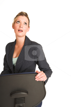 Laura Hopton #31 stock photo, Business woman on office looking up, mouth open - copy space by Sean Nel