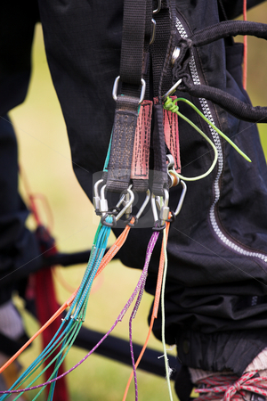 Paraglider harness stock photo, Close-up of a paraglider harness and gear by Sean Nel