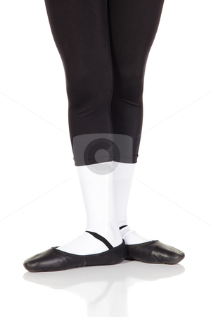 Young Ballet feet stock photo, Young ballet boy on white background and reflective white floor showing various ballet steps and positions. Not Isolated by Sean Nel