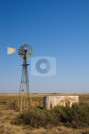 Cape windpump #1 stock photo, Windpump and cement dam just outside Colesberg, south Africa by Sean Nel