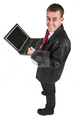 Business man #20 stock photo, Business man in a suit with a notebook computer by Sean Nel