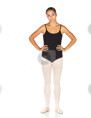 Ballet Steps stock photo, Tired young caucasian ballerina girl on white background and reflective white floor. Not Isolated. by Sean Nel