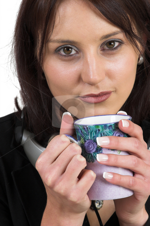 Woman #1 stock photo, Woman drinking a cup of tea by Sean Nel