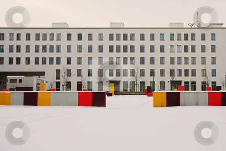 Munich #81 stock photo, White building with snow in the foreground. by Sean Nel