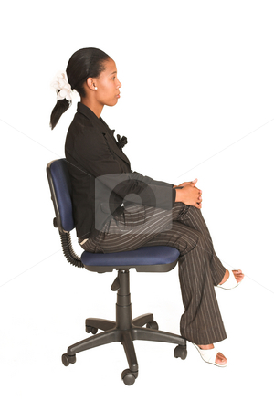 Mida Matsimela #29 stock photo, African business woman dressed in black jacket.  Sitting on office chair. by Sean Nel