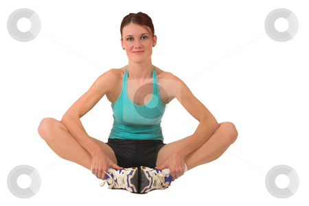 Gym #132 stock photo, Woman in gym wear, sitting. by Sean Nel