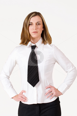 Felicity Calitz #14 stock photo, Business woman standing with hands on hips wearing white shirt, black tie by Sean Nel