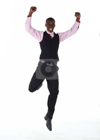 Black African businessman stock photo, Young Adult black african businessman wearing a dark smart-casual outfit without a Jacket, but with a pink shirt and a dark waistcoat, Jumping around on a white background in various poses with various facial expressions. Part of a series, Not Isolated. by Sean Nel