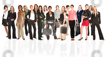 Business group of isolated woman only stock photo, A group of young modern businesswoman of different ethnicity and backgrounds, isolated on white. For use as a business background. The front row of the business group is sharp, while the back row is slightly blurred. by Sean Nel