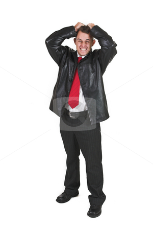Tollie Booysen #8 stock photo, Businessman in black leather jacket, white shirt and red tie. Hands on head pulling his hair. by Sean Nel