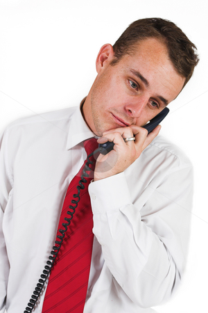 Business man #26 stock photo, Business man in a suit with a blue telephone by Sean Nel