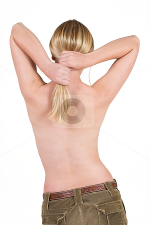 Body #9 stock photo, Naked female torso holding her hair by Sean Nel