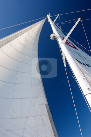 Boat #1 stock photo, White Yacht sail and radio mast by Sean Nel