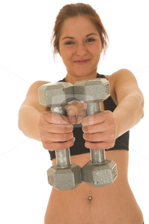 Gymbunny #26 stock photo, Brunette with black top with weights by Sean Nel