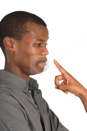 Businessman #166 stock photo, Finger pointing at a sweating businessman. by Sean Nel