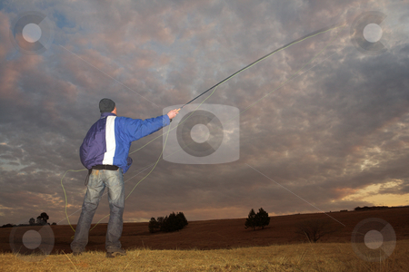 Flyfishing #1 stock photo, A fly fisherman casting a line in Dullstroom, South Africa by Sean Nel