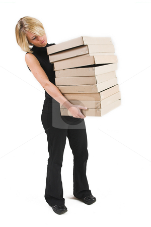 Business Lady #28 stock photo, Blond Business woman carrying boxes by Sean Nel
