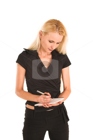 Businesswoman#374 stock photo, Blond Business Woman, looking down, concentrating, writing on note pad, portrait by Sean Nel