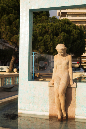 JuanLesPins #4 stock photo, The famous bathing lady on the Juan Les Pins waterfront, France - Sunset by Sean Nel