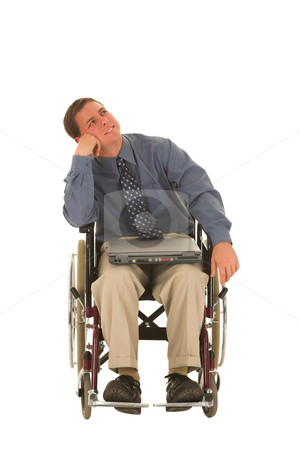 Businessman #136 stock photo, Businessman sitting in a wheelchair with a laptop by Sean Nel