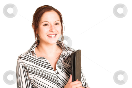 Business Woman #349 stock photo, Business woman with brown hair, dressed in a white shirt with black stripes.  Holding a black leather folder.  Copy space by Sean Nel