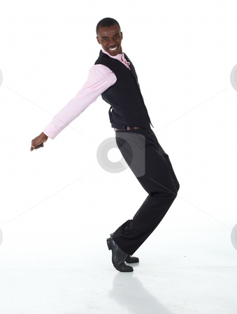 Black African businessman stock photo, Young Adult black african businessman wearing a dark smart-casual outfit without a Jacket, but with a pink shirt and a dark waistcoat dancing around on a white background in various poses with various facial expressions. Part of a series, Not Isolated. by Sean Nel