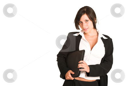 Business Woman #275 stock photo, Business woman dressed in a pencil skirt and jacket.  Holding a file.  Copy space by Sean Nel