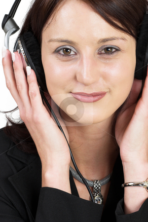 Music #6 stock photo, Woman with earphones by Sean Nel