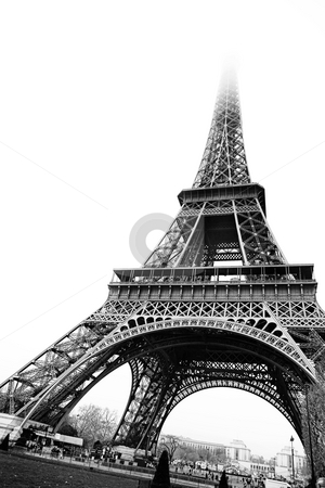 Paris #18 stock photo, The Eiffel Tower in Paris, France. Black and white - copy space. by Sean Nel