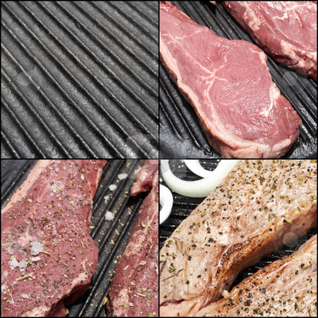 Food preparation stock photo, A combination image of the steps to prepare the perfect steak dinner by Sean Nel